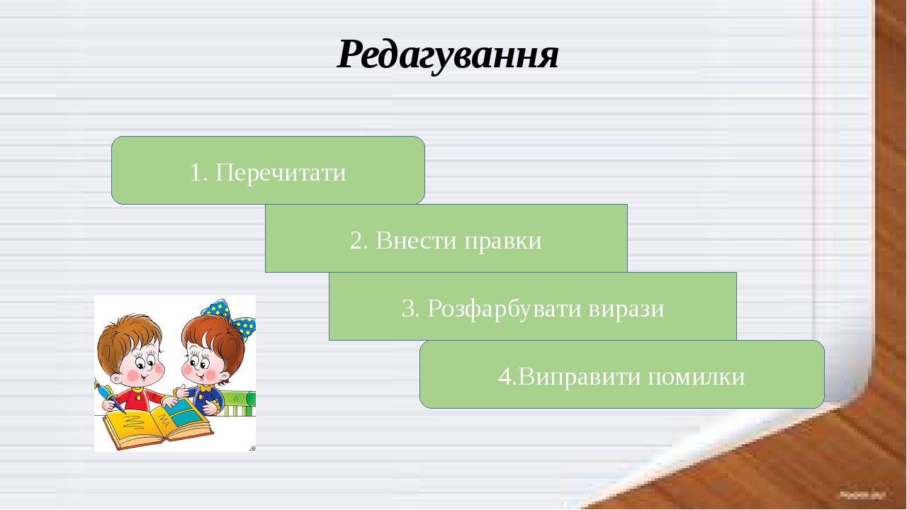 Редагування 1. Перечитати 2. Внести правки 3. Розфарбувати вирази 4.Виправити помилки