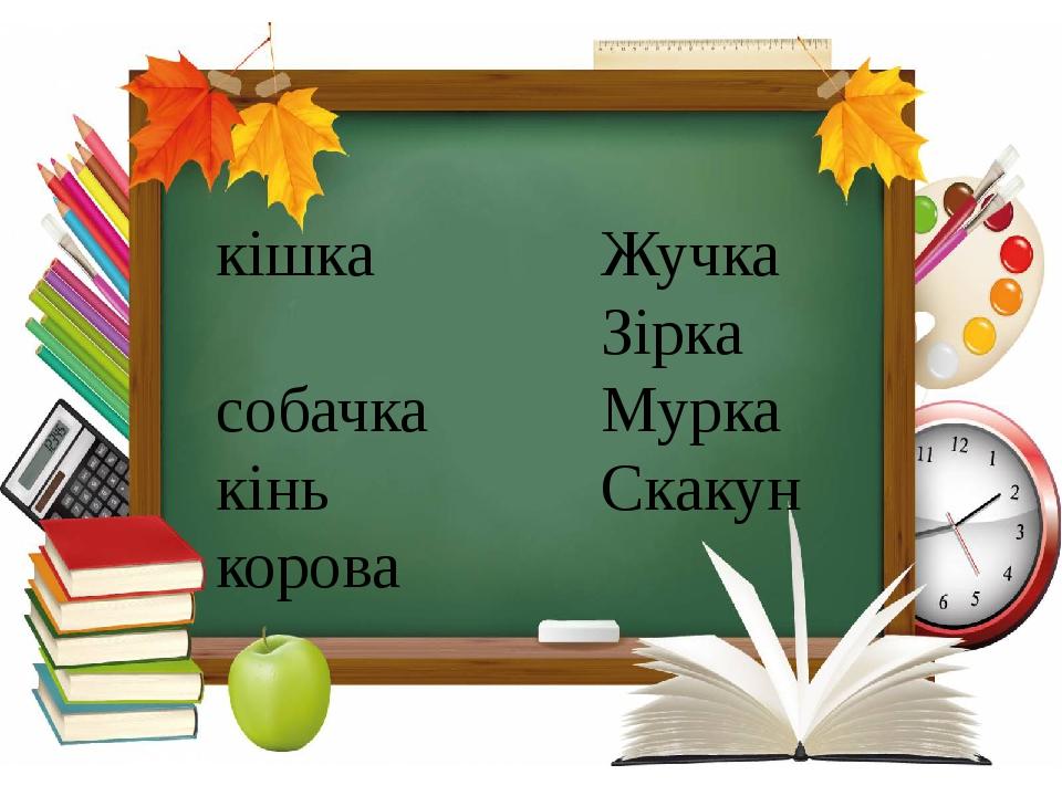 Українська мова, 2 клас кішка собачка кінь корова Жучка Зірка Мурка Скакун