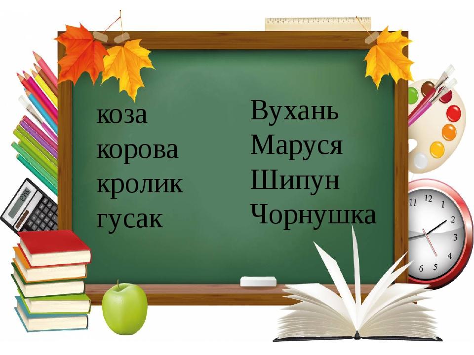 Українська мова, 2 клас коза корова кролик гусак Вухань Маруся Шипун Чорнушка