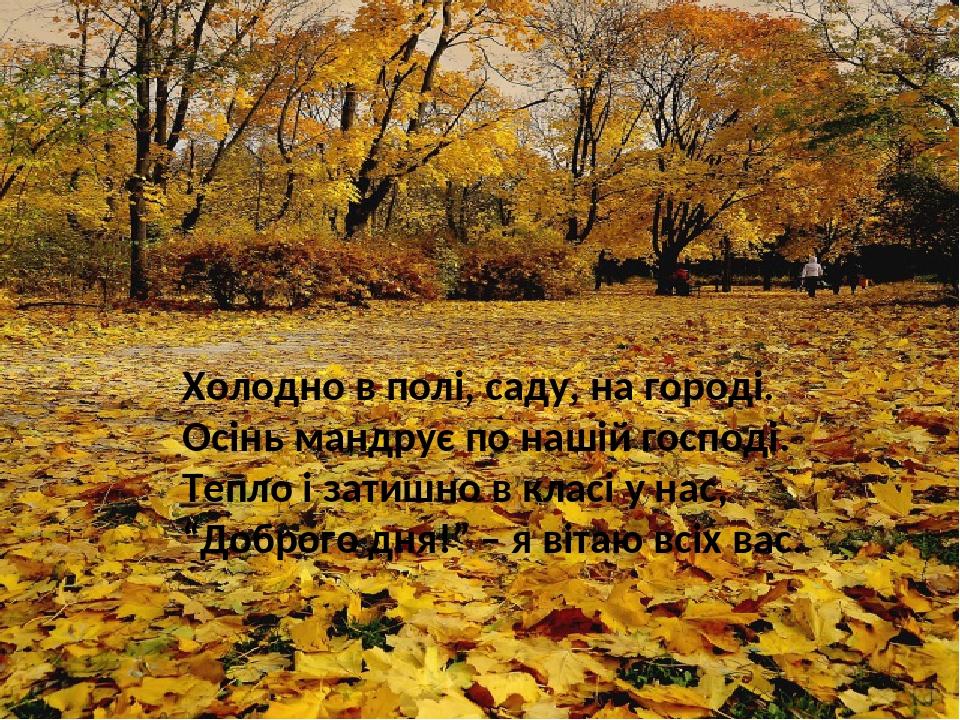 """Холодно в полі, саду, на городі. Осінь мандрує по нашій господі. Тепло і затишно в класі у нас, """"Доброго дня!"""" – я вітаю всіх вас."""
