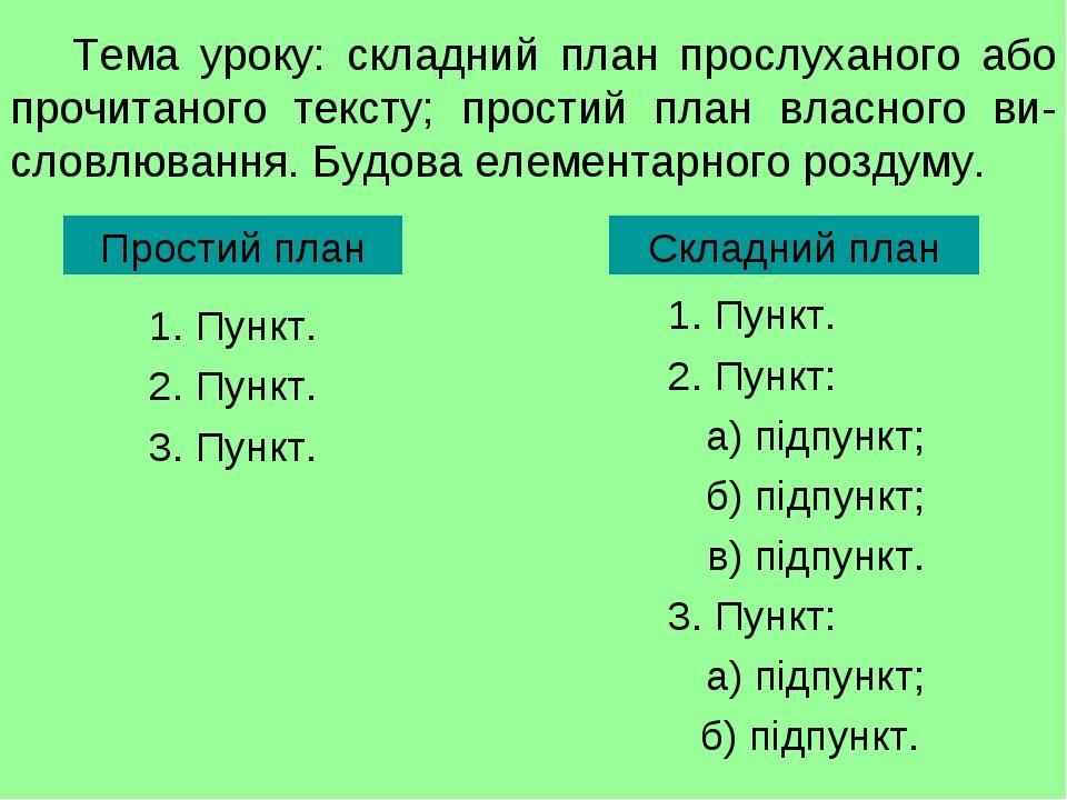 Тема уроку: складний план прослуханого або прочитаного тексту; простий план власного ви-словлювання. Будова елементарного роздуму. 1. Пункт. 2. Пун...
