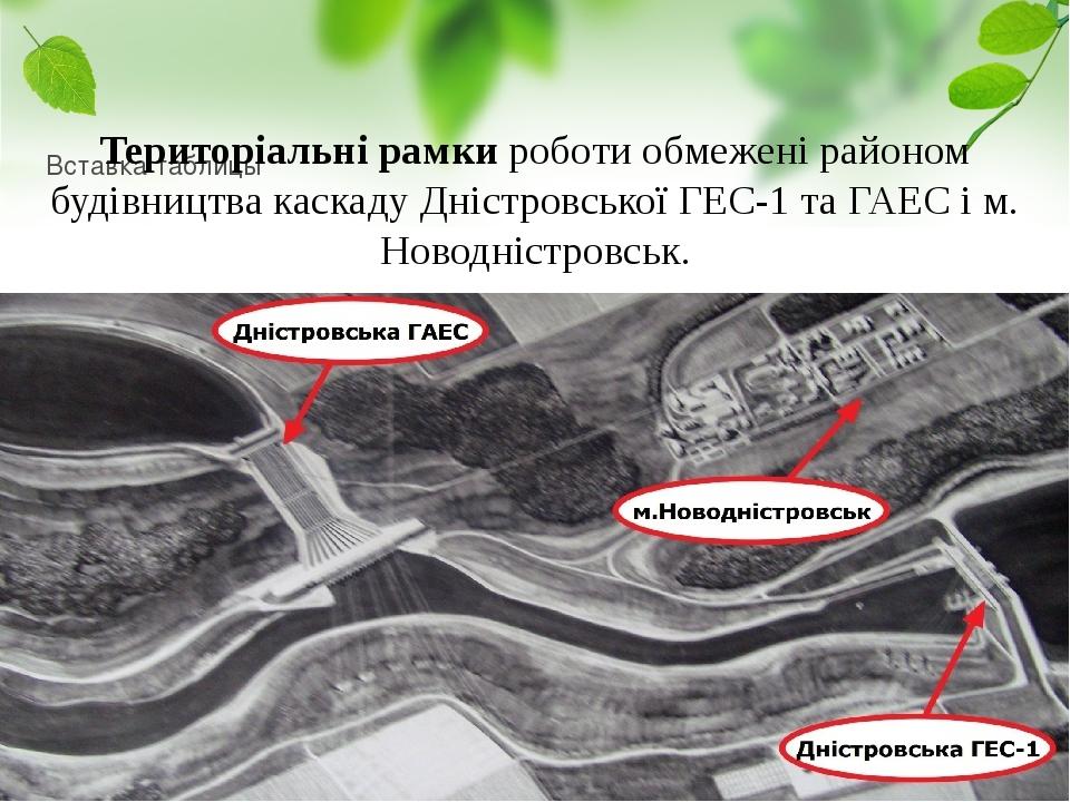 Територіальні рамки роботи обмежені районом будівництва каскаду Дністровської ГЕС-1 та ГАЕС і м. Новодністровськ.