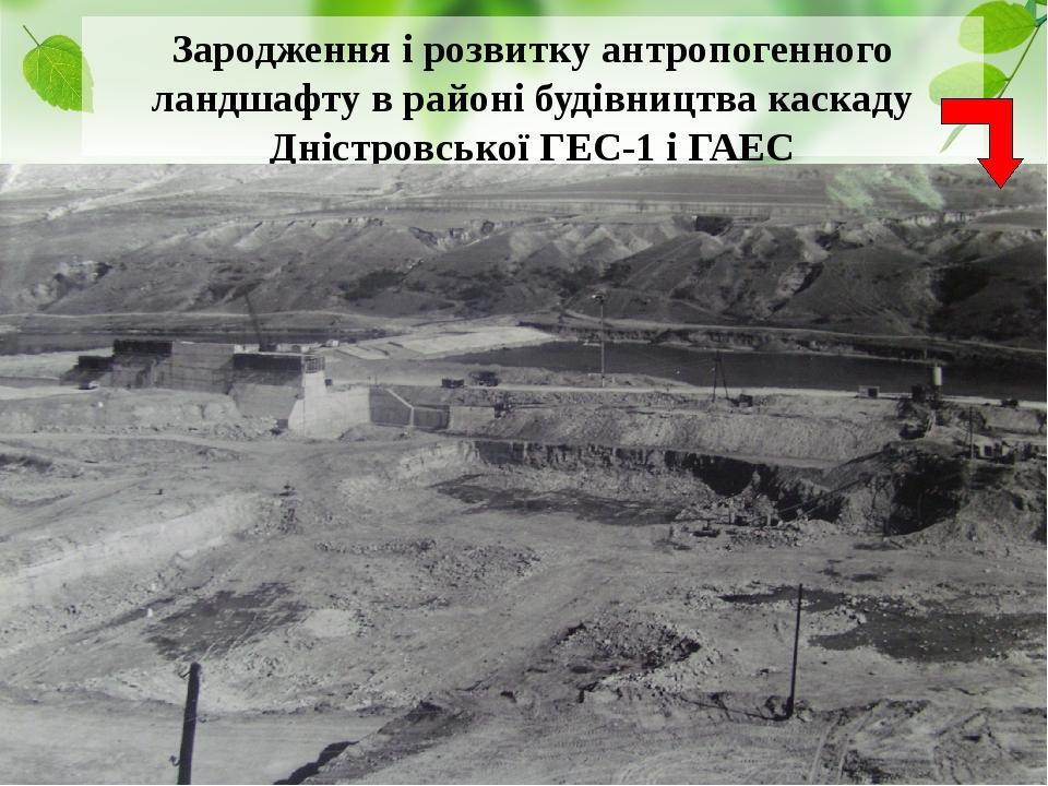 Зародження і розвитку антропогенного ландшафту в районі будівництва каскаду Дністровської ГЕС-1 і ГАЕС