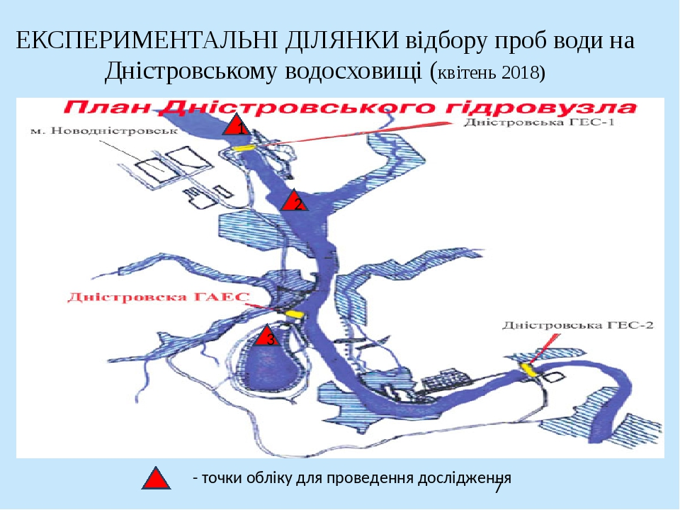 ЕКСПЕРИМЕНТАЛЬНІ ДІЛЯНКИ відбору проб води на Дністровському водосховищі (квітень 2018) - точки обліку для проведення дослідження 1 2 3