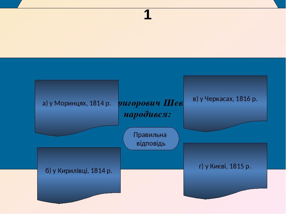 Тарас Григорович Шевченко народився: а) у Моринцях, 1814 р. б) у Кирилівці, 1814 р. г) у Києві, 1815 р. в) у Черкасах, 1816 р. А Правильна відповід...