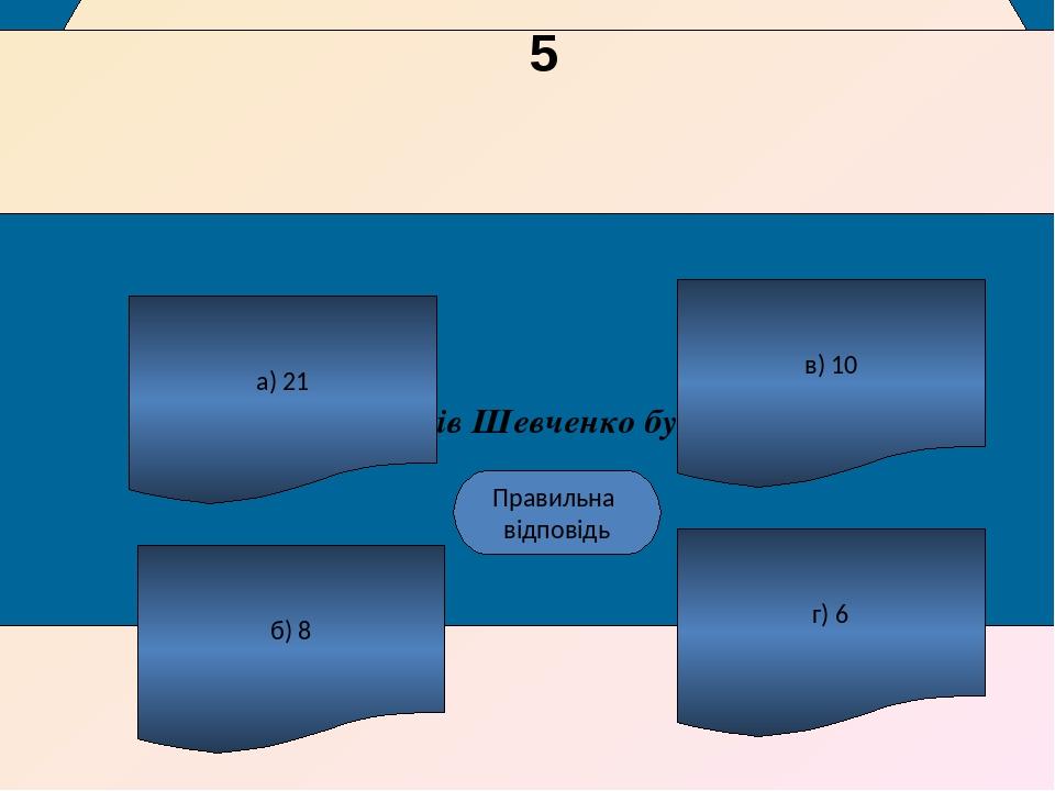 Скільки років Шевченко був на волі ? а) 21 б) 8 г) 6 в) 10 наступне питання Б Правильна відповідь 5