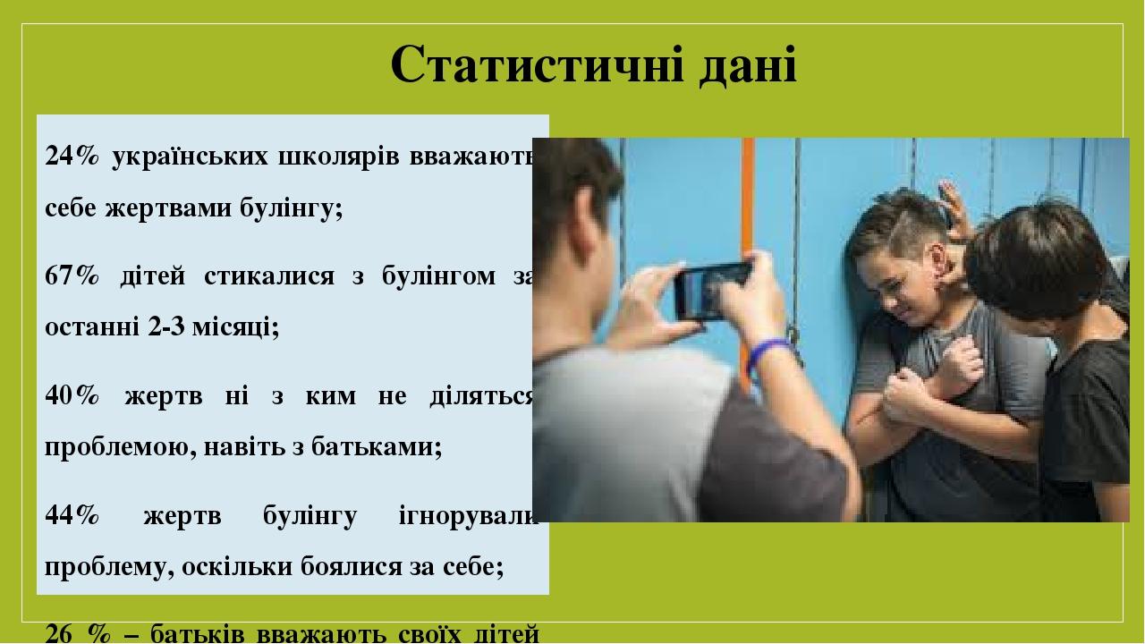 Статистичні дані 24% українських школярів вважають себе жертвами булінгу; 67% дітей стикалися з булінгом за останні 2-3 місяці; 40% жертв ні з ким ...