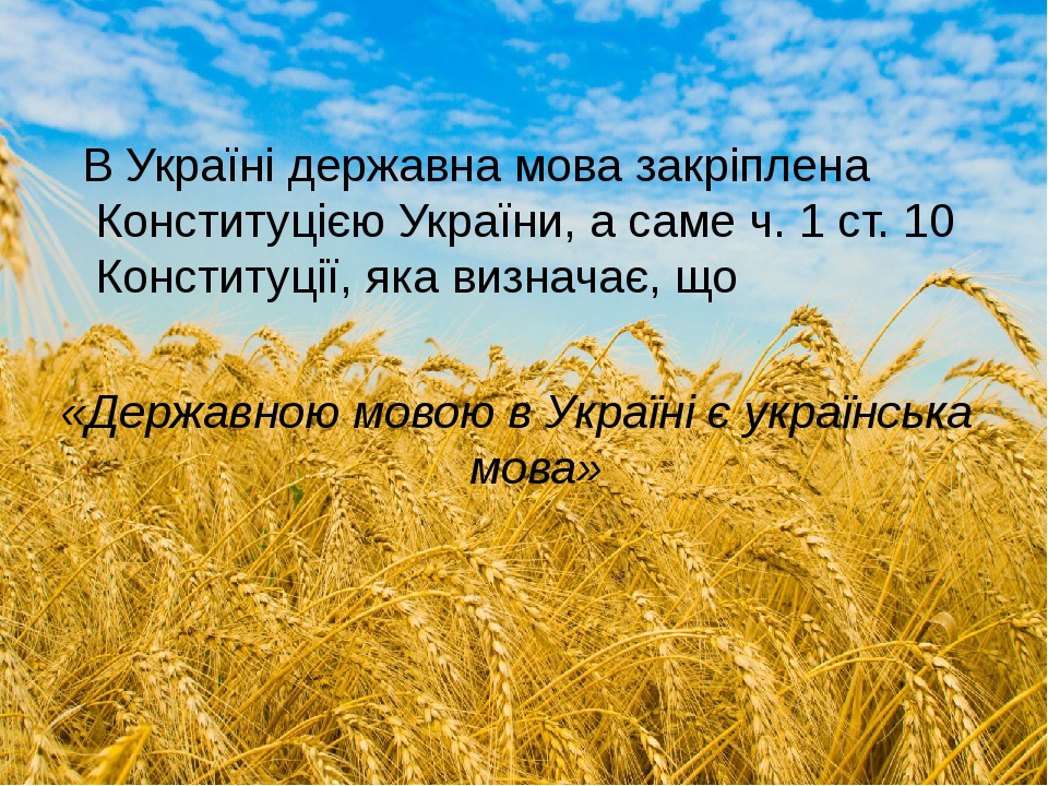 В Україні державна мова закріплена Конституцією України, а саме ч. 1 ст. 10 Конституції, яка визначає, що «Державною мовою в Україні є українська м...