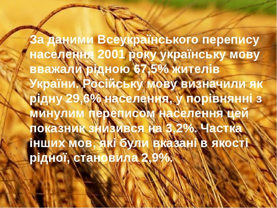 За даними Всеукраїнського перепису населення 2001 року українську мову вважали рідною 67,5% жителів України. Російську мову визначили як рідну 29,6...
