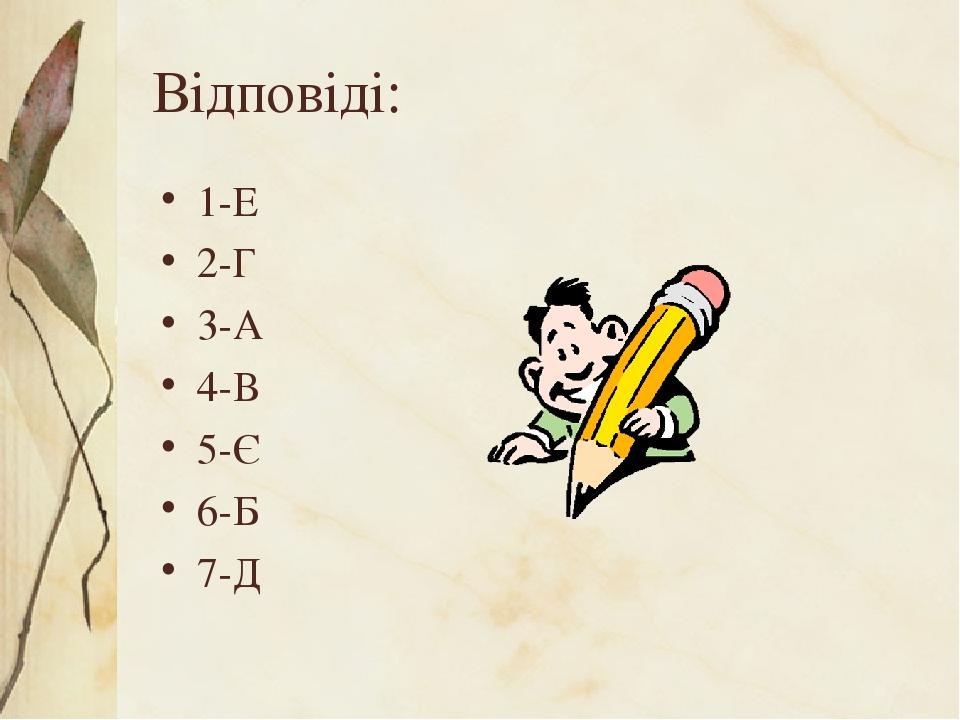 Відповіді: 1-Е 2-Г 3-А 4-В 5-Є 6-Б 7-Д