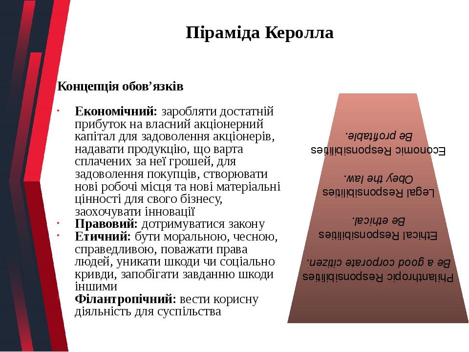 Піраміда Керолла Концепція обов'язків Економічний: заробляти достатній прибуток на власний акціонерний капітал для задоволення акціонерів, надавати...