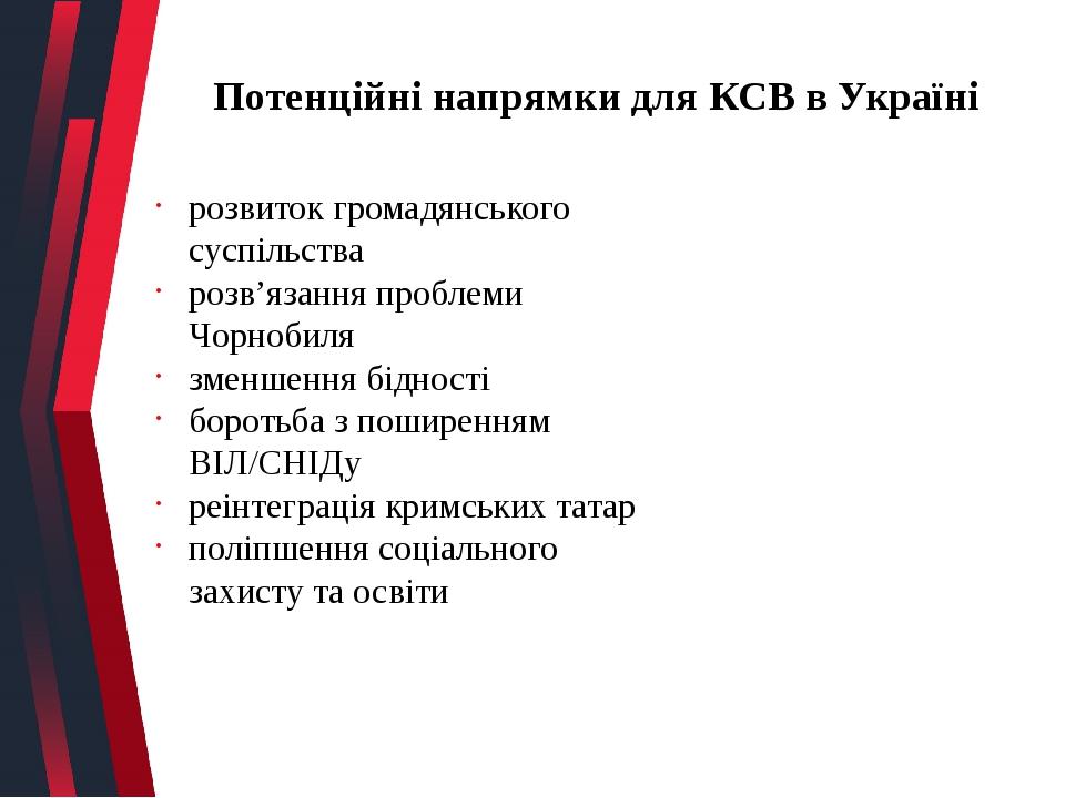 Потенційні напрямки для КСВ в Україні розвиток громадянського суспільства розв'язання проблеми Чорнобиля зменшення бідності боротьба з поширенням В...