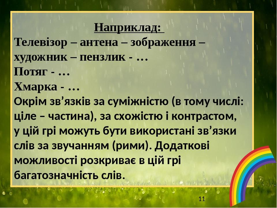 Наприклад: Телевізор – антена – зображення – художник – пензлик - … Потяг - … Хмарка - … Окрім зв'язків за суміжністю (в тому числі: ціле – частина...