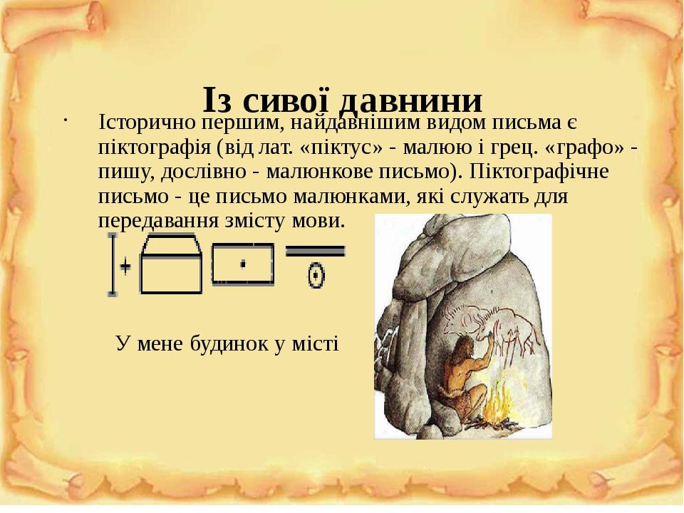 Із сивої давнини Історично першим, найдавнішим видом письма є піктографія (від лат. «піктус» - малюю і грец. «графо» - пишу, дослівно - малюнкове п...