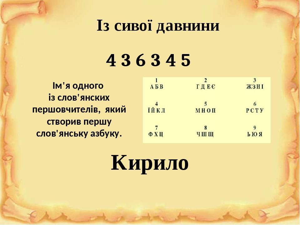 Із сивої давнини Ім'я одного із слов'янских першовчителів, який створив першу слов'янську азбуку. 4 3 6 3 4 5 Кирило