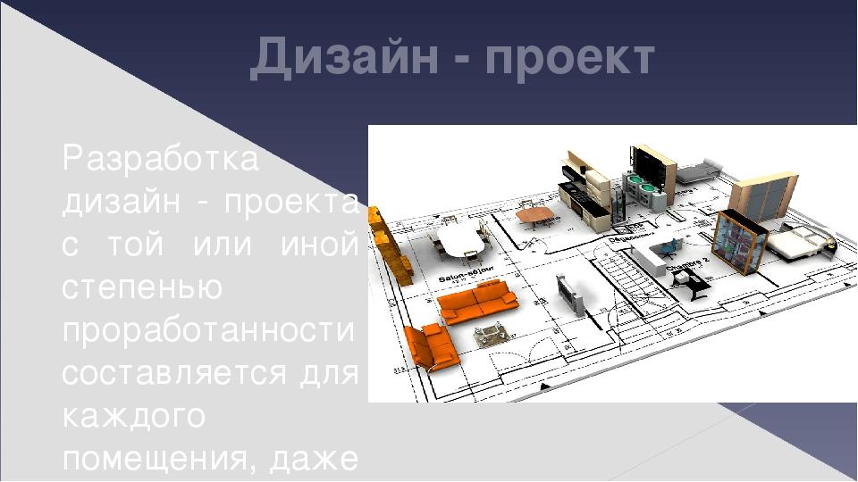 Дизайн - проект Разработка дизайн - проекта с той или иной степенью проработанности составляется для каждого помещения, даже если вы не подозревает...