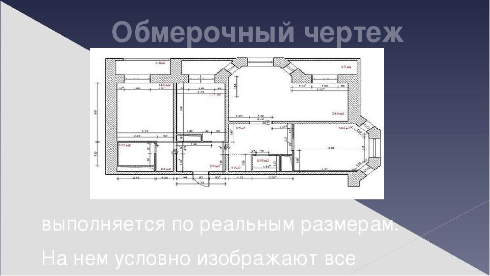 Обмерочный чертеж выполняется по реальным размерам. На нем условно изображают все элементы помещения (стены, окна, двери).