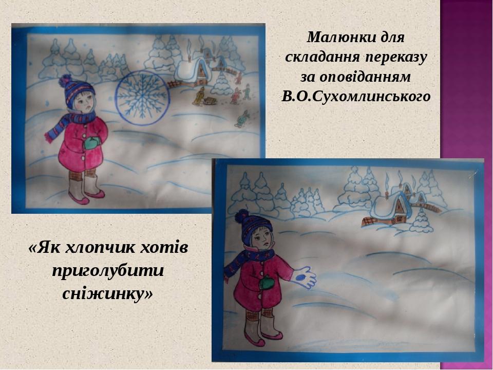 Малюнки для складання переказу за оповіданням В.О.Сухомлинського «Як хлопчик хотів приголубити сніжинку»
