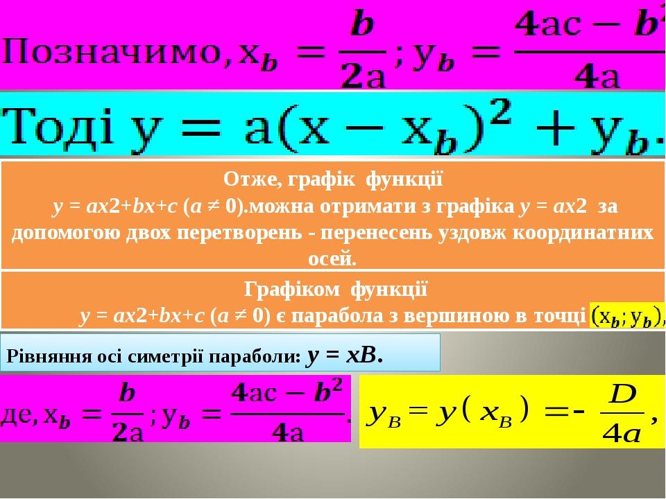 Отже, графік функції y = ax2+bx+c (a ≠ 0).можна отримати з графіка y = ax2 за допомогою двох перетворень - перенесень уздовж координатних осей. Гра...