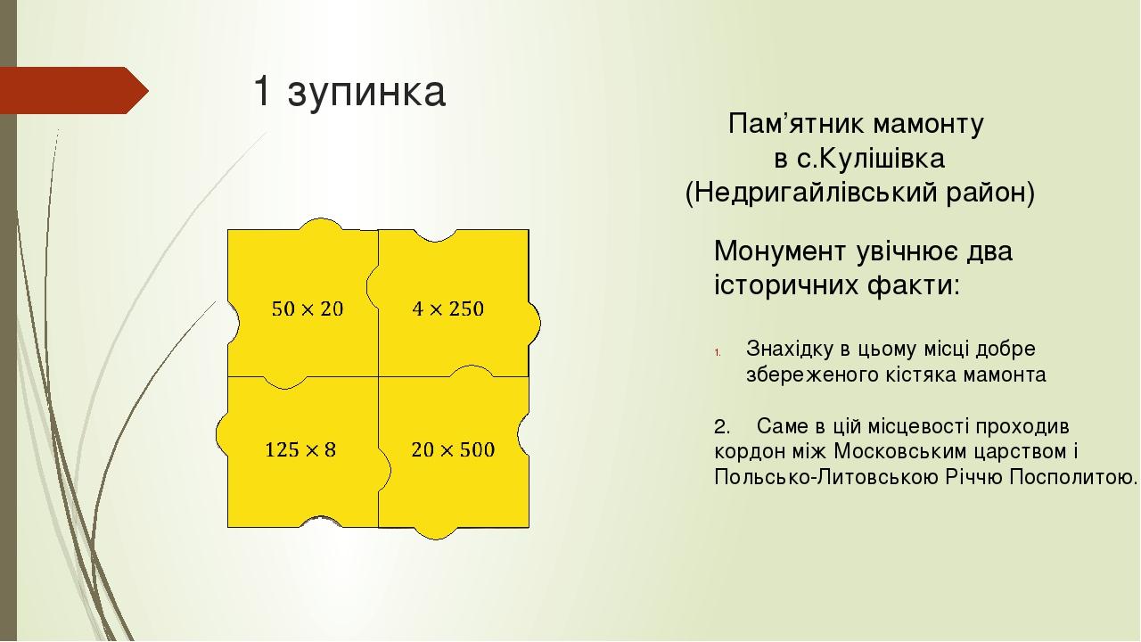 Монумент увічнює два історичних факти: Знахідку в цьому місці добре збереженого кістяка мамонта 2. Саме в цій місцевості проходив кордон між Москов...