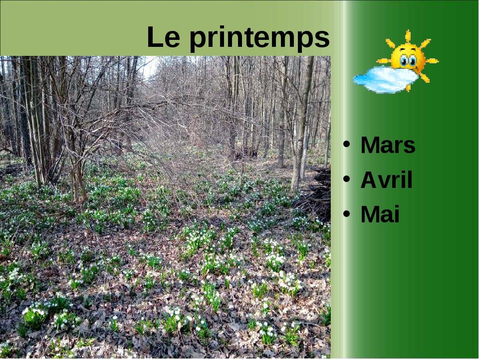 Le printemps Mars Avril Mai