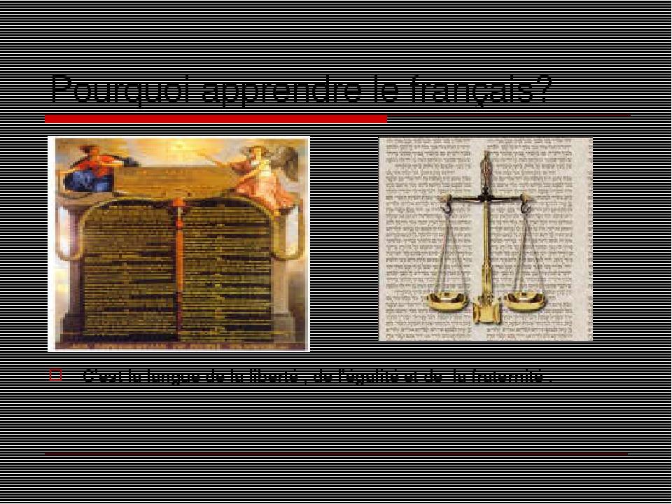Pourquoi apprendre le français? C'est la langue de la liberté , de l'égalité et de la fraternité .