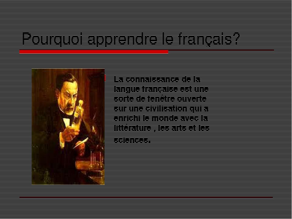 Pourquoi apprendre le français? La connaissance de la langue française est une sorte de fenêtre ouverte sur une civilisation qui a enrichi le monde...