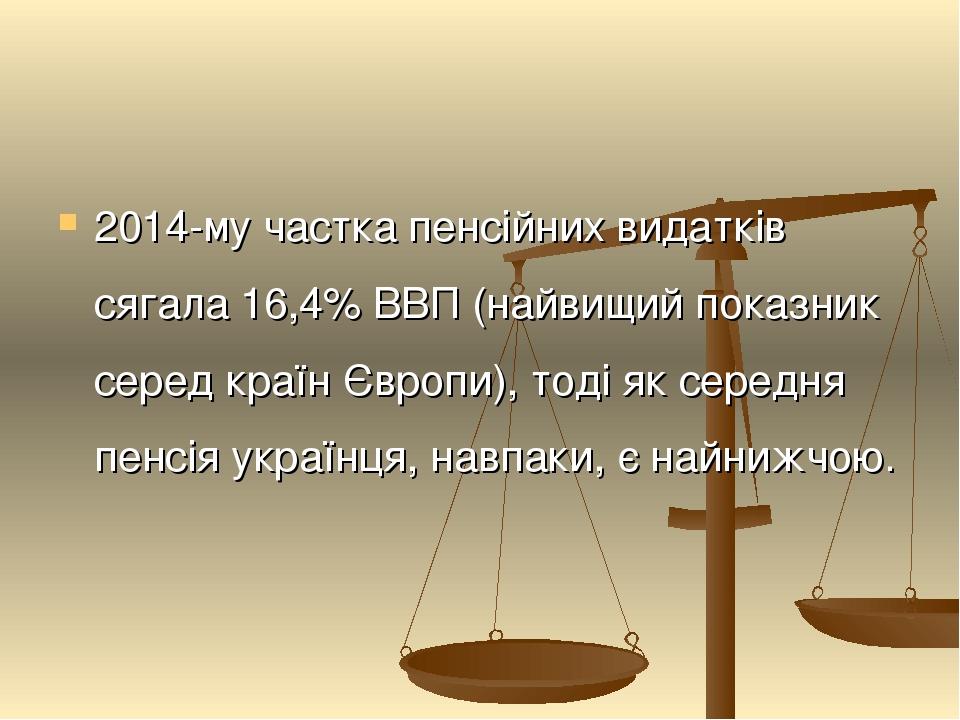2014-му частка пенсійних видатків сягала 16,4% ВВП (найвищий показник серед країн Європи), тоді як середня пенсія українця, навпаки, є найнижчою.