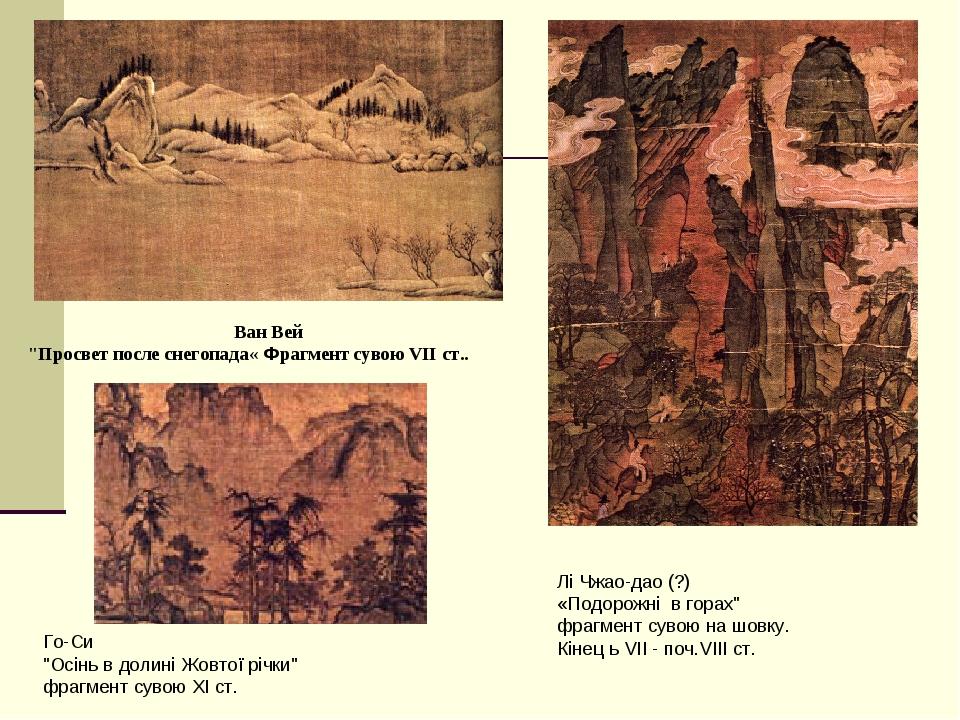 "Ван Вей ""Просвет после снегопада« Фрагмент сувою VII ст.. Лі Чжао-дао (?) «Подорожні в горах"" фрагмент сувою на шовку. Кінец ь VII - поч.VIII ст. Г..."