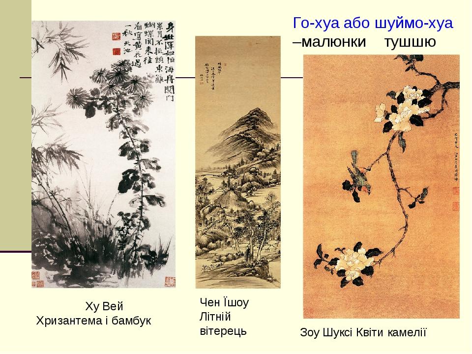 Ху Вей Хризантема і бамбук Чен Їшоу Літній вітерець Зоу Шуксі Квіти камелії Го-хуа або шуймо-хуа –малюнки тушшю
