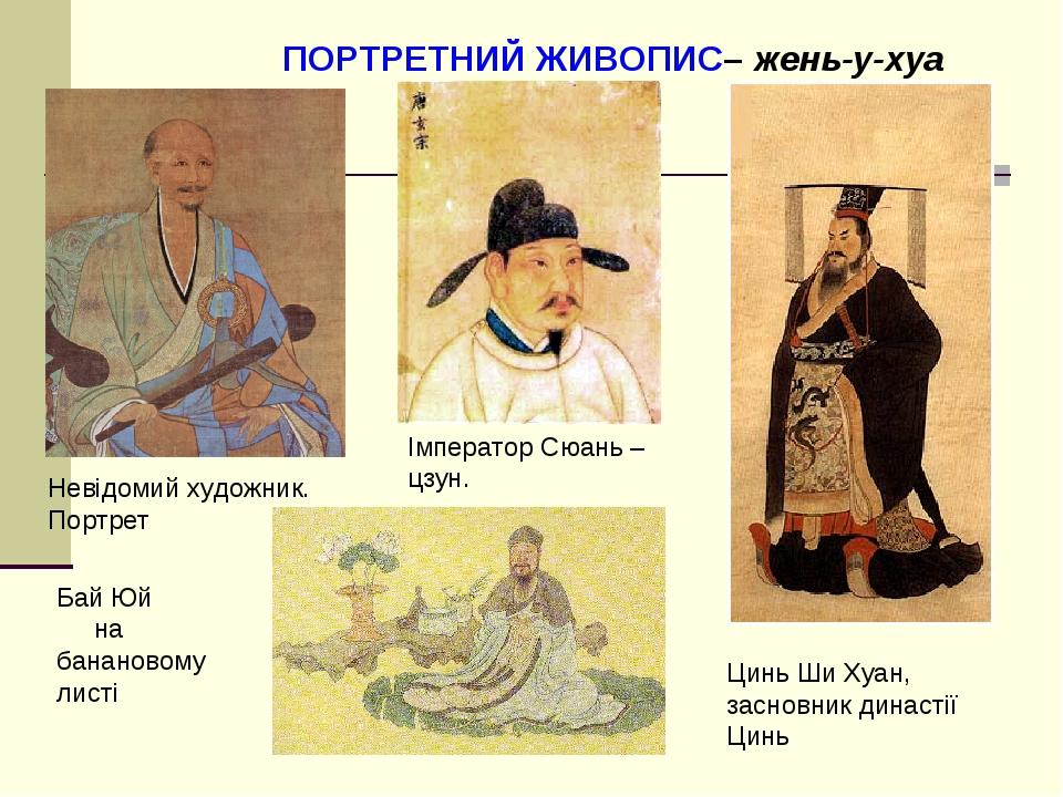 Невідомий художник. Портрет Імператор Сюань –цзун. Цинь Ши Хуан, засновник династії Цинь Бай Юй на банановому листі ПОРТРЕТНИЙ ЖИВОПИС– жень-у-хуа