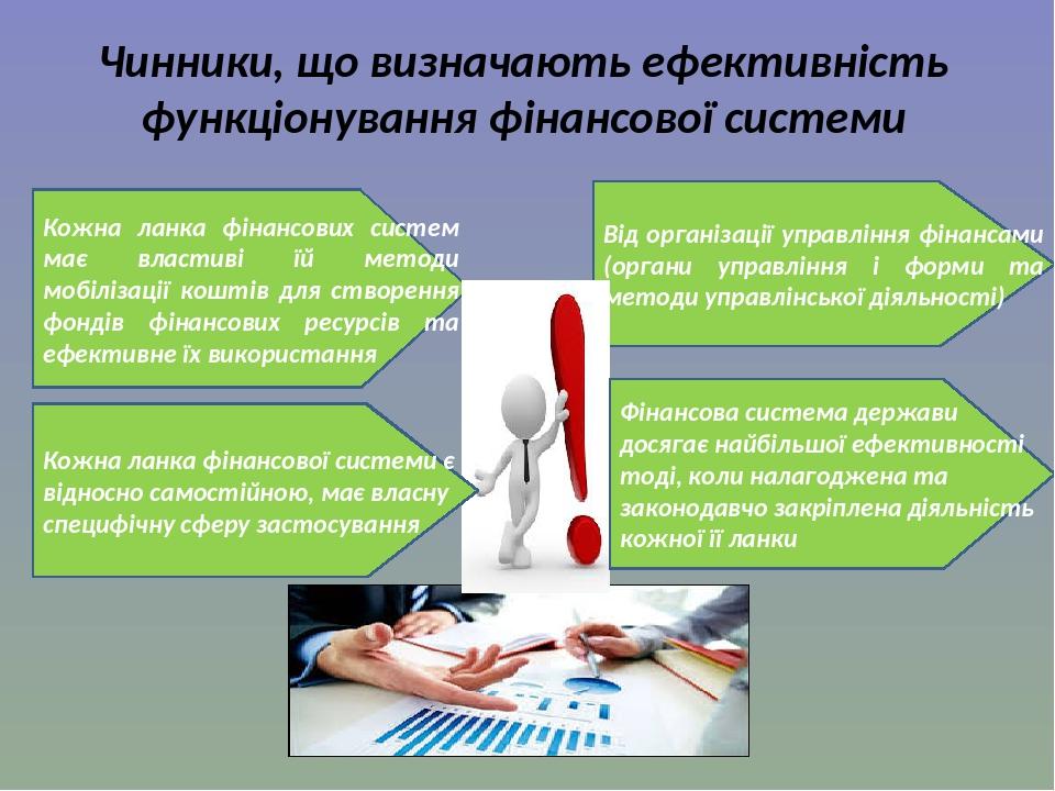 Чинники, що визначають ефективність функціонування фінансової системи Кожна ланка фінансових систем має властиві їй методи мобілізації коштів для с...