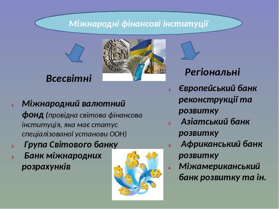 Міжнародні фінансові інституції Всесвітні Регіональні Міжнародний валютний фонд (провідна світова фінансова інституція, яка має статус спеціалізова...