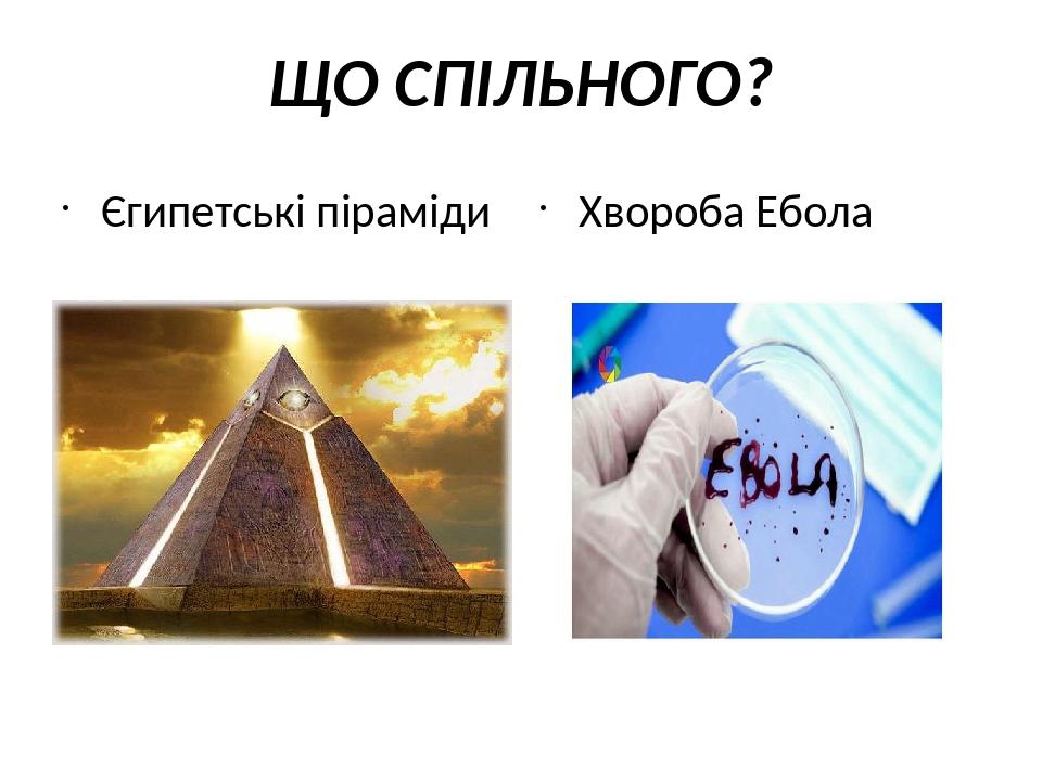 ЩО СПІЛЬНОГО? Єгипетські піраміди Хвороба Ебола