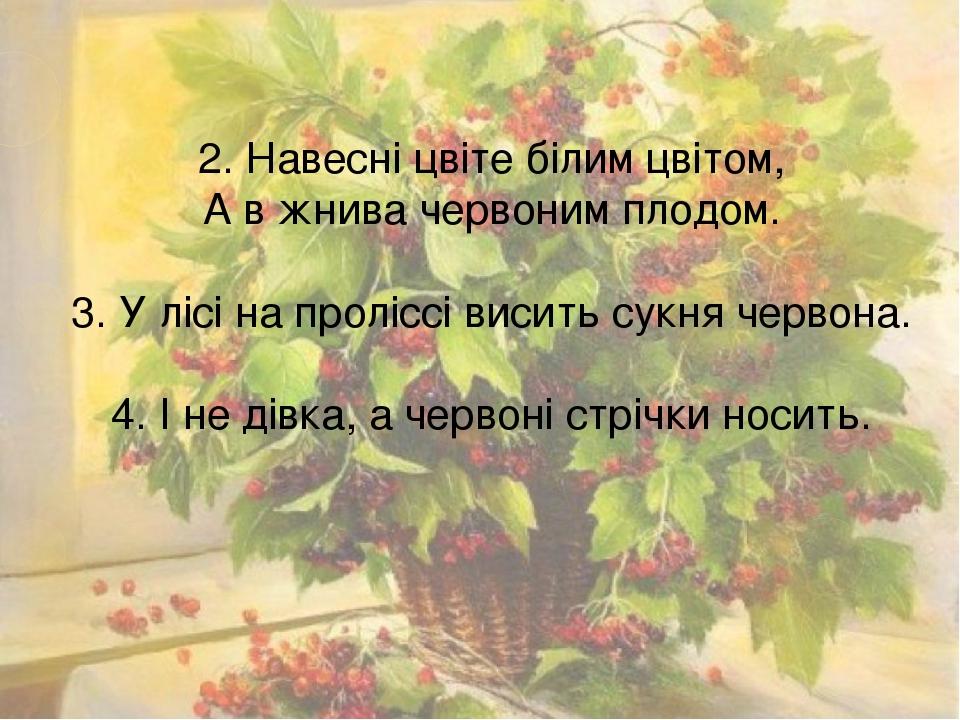 2. Навесні цвіте білим цвітом, А в жнива червоним плодом. 3. У лісі на проліссі висить сукня червона. 4. І не дівка, а червоні стрічки носить.