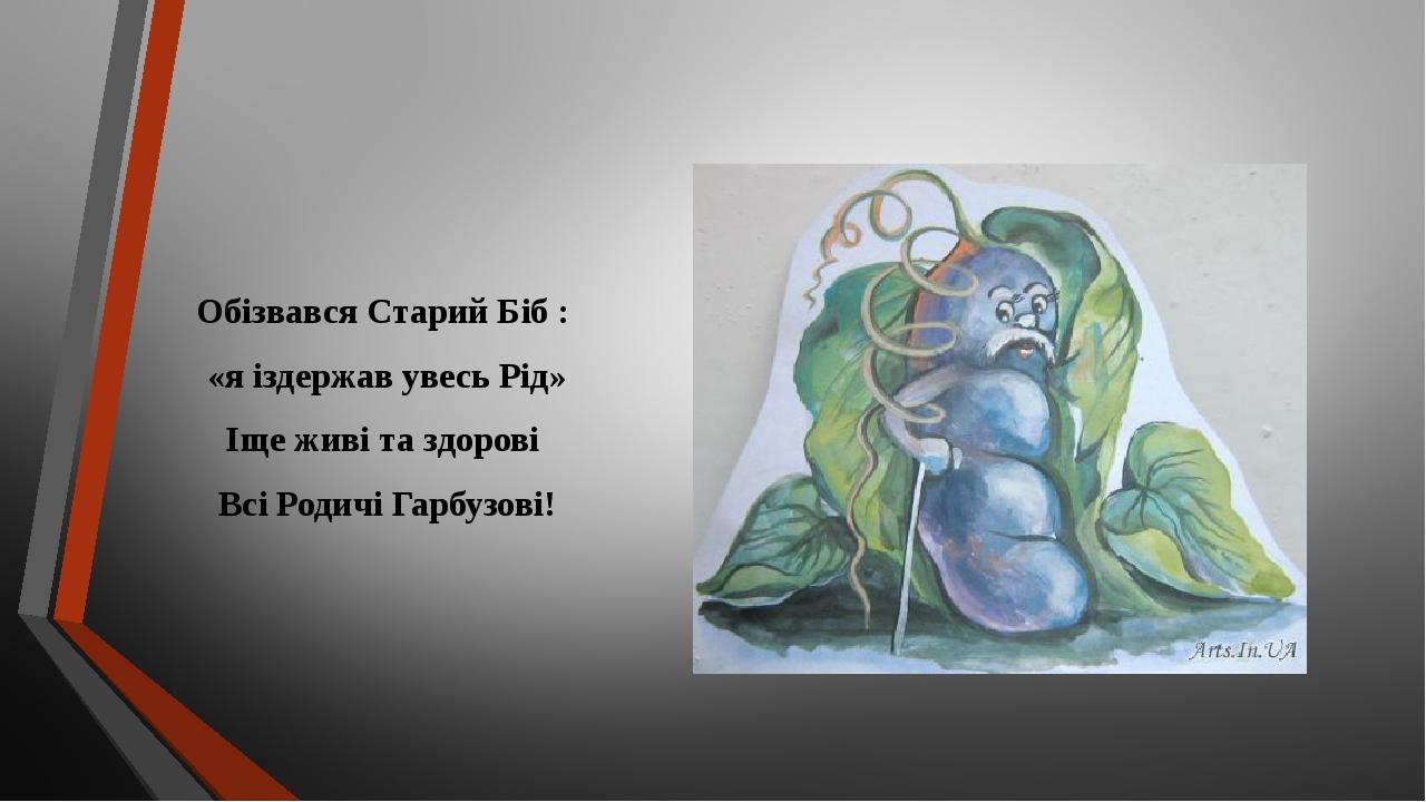 Обізвався Старий Біб : «я іздержав увесь Рід» Іще живі та здорові Всі Родичі Гарбузові!