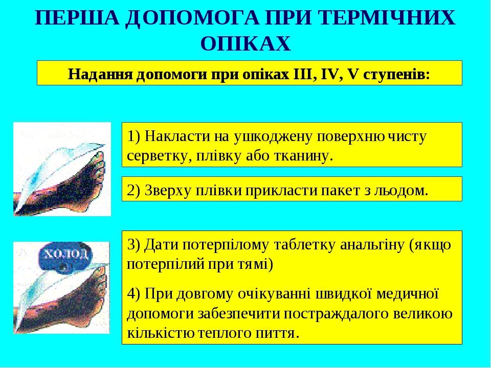 1) Накласти на ушкоджену поверхню чисту серветку, плівку або тканину. 2) Зверху плівки прикласти пакет з льодом. 3) Дати потерпілому таблетку аналь...