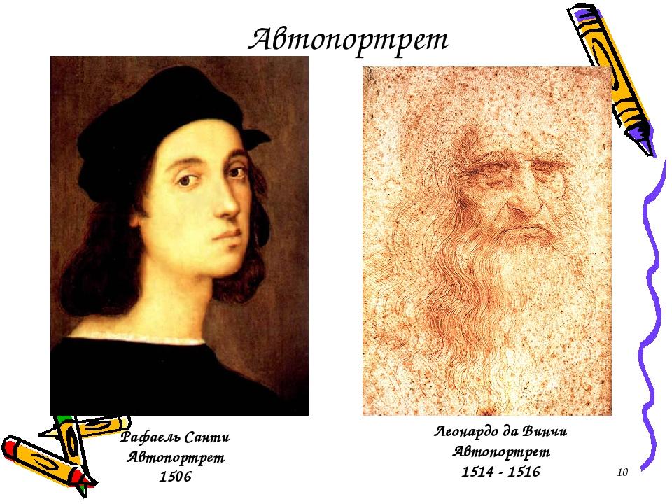 * Автопортрет Рафаель Санти Автопортрет 1506 Леонардо да Винчи Автопортрет 1514 - 1516