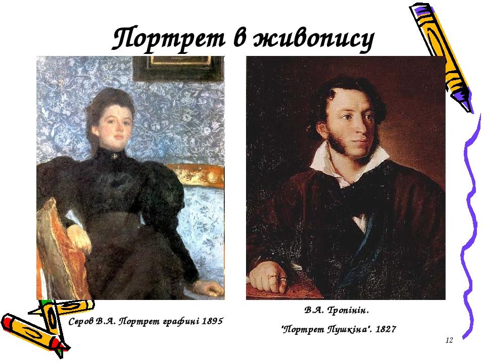 """* Портрет в живопису Сєров В.А. Портрет графині 1895 В.А. Тропінін. """"Портрет Пушкіна"""". 1827"""