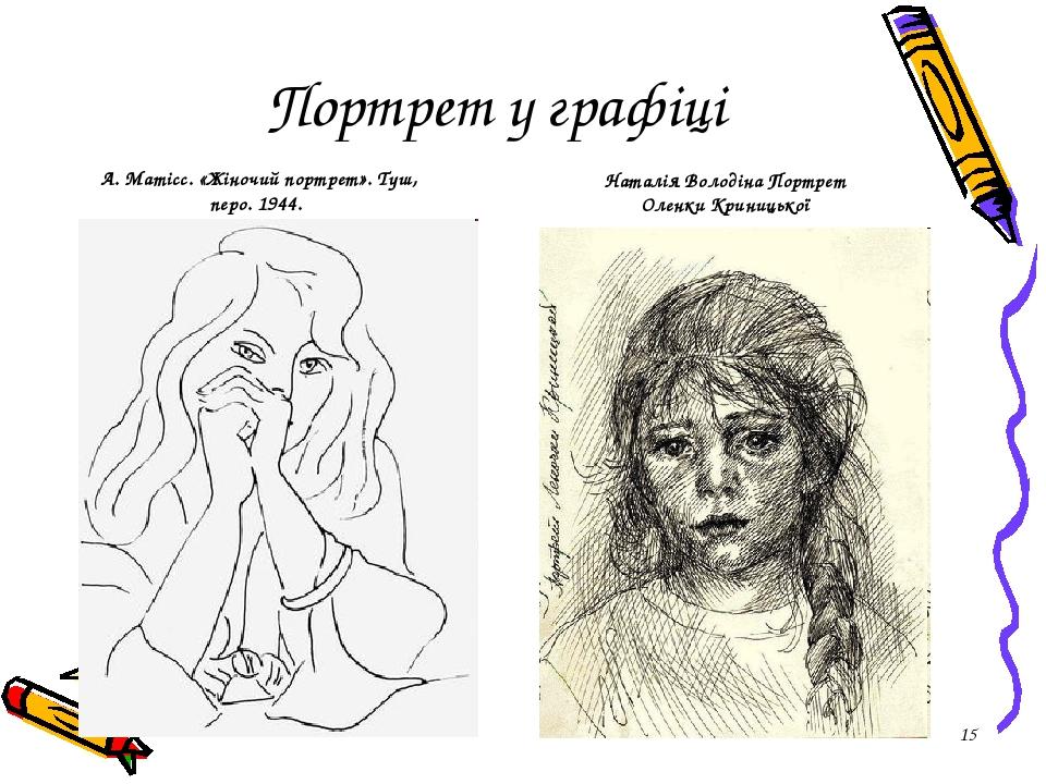 * Портрет у графіці А. Матісс. «Жіночий портрет». Туш, перо. 1944. Наталія Володіна Портрет Оленки Криницької
