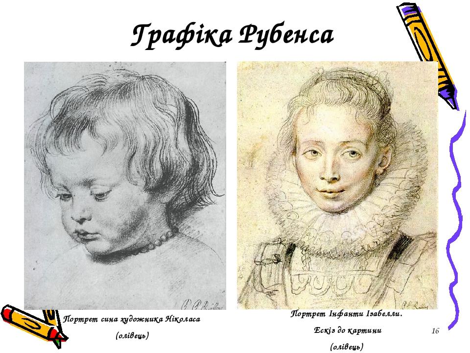 * Графіка Рубенса Портрет сина художника Ніколаса (олівець) Портрет Інфанти Ізабелли. Ескіз до картини (олівець)