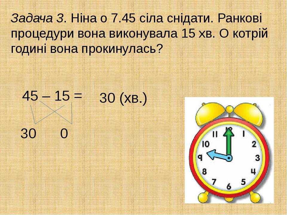 Задача 3. Ніна о 7.45 сіла снідати. Ранкові процедури вона виконувала 15 хв. О котрій годині вона прокинулась? 45 – 15 = 30 0 30 (хв.)