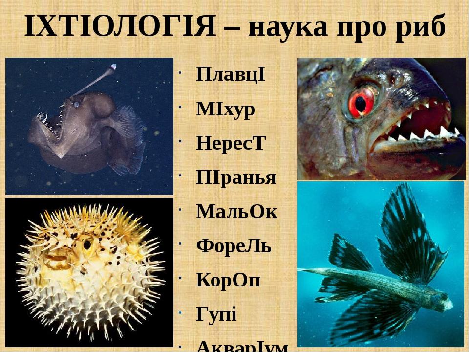 ІХТІОЛОГІЯ – наука про риб ПлавцІ МІхур НересТ ПІранья МальОк ФореЛь КорОп Гупі АкварІум ЗЯбра
