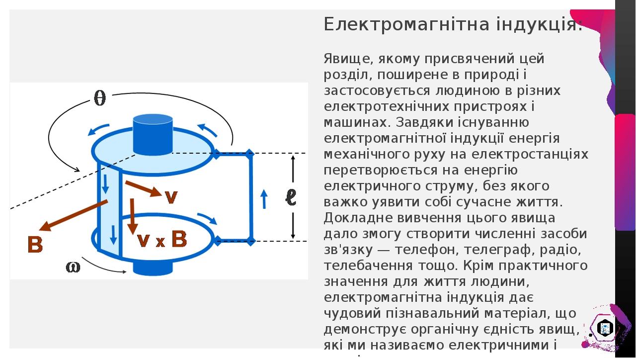 Електромагнітна індукція: Явище, якому присвячений цей розділ, поширене в природі і застосовується людиною в різних електротехнічних пристроях і ма...