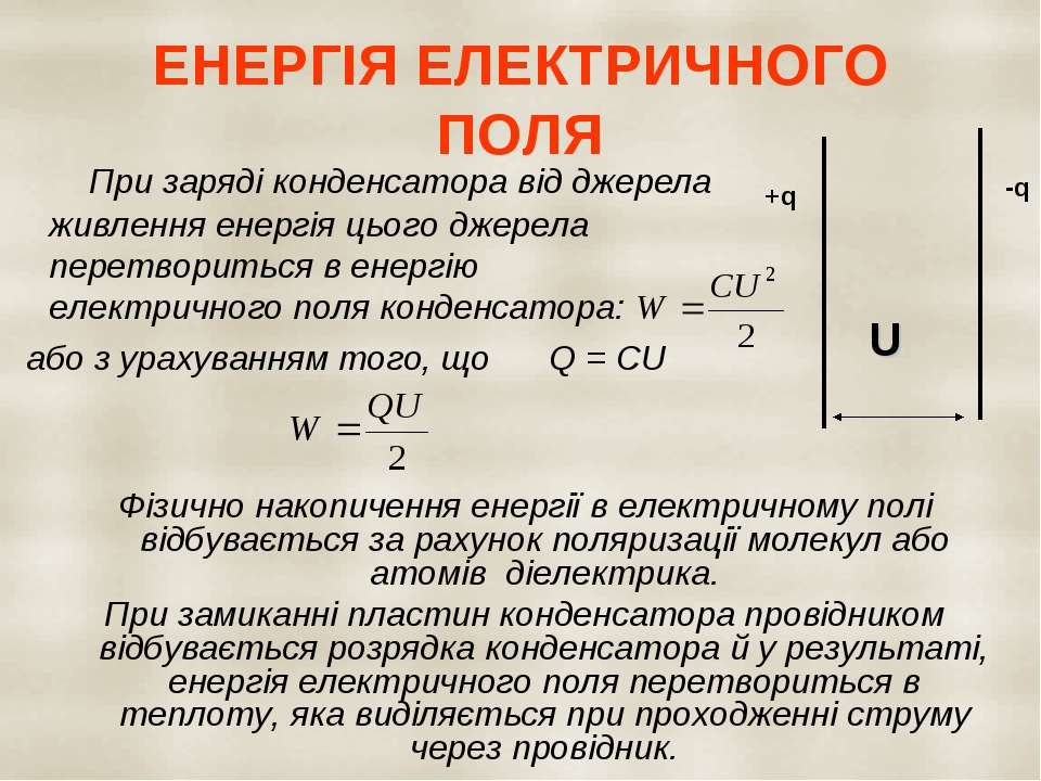 ЕНЕРГІЯ ЕЛЕКТРИЧНОГО ПОЛЯ При заряді конденсатора від джерела живлення енергія цього джерела перетвориться в енергію електричного поля конденсатора...