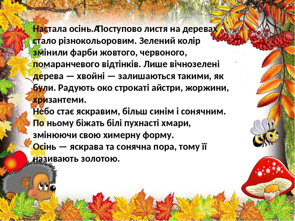 Настала осінь.Поступово листя на деревах стало різнокольоровим. Зелений колір змінили фарби жовтого, червоного, помаранчевого відтінків. Лише вічн...