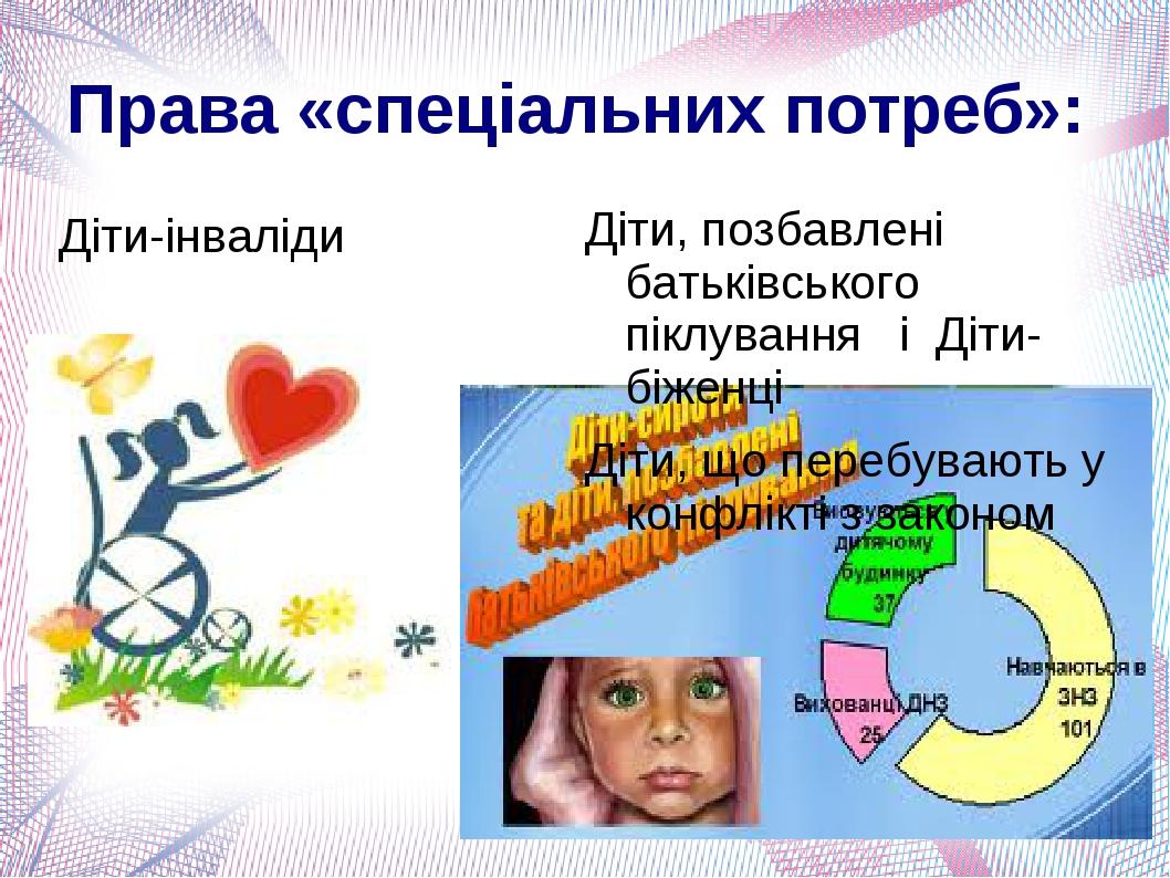 Права «спеціальних потреб»: Діти-інваліди Діти, позбавлені батьківського піклування і Діти-біженці Діти, що перебувають у конфлікті з законом