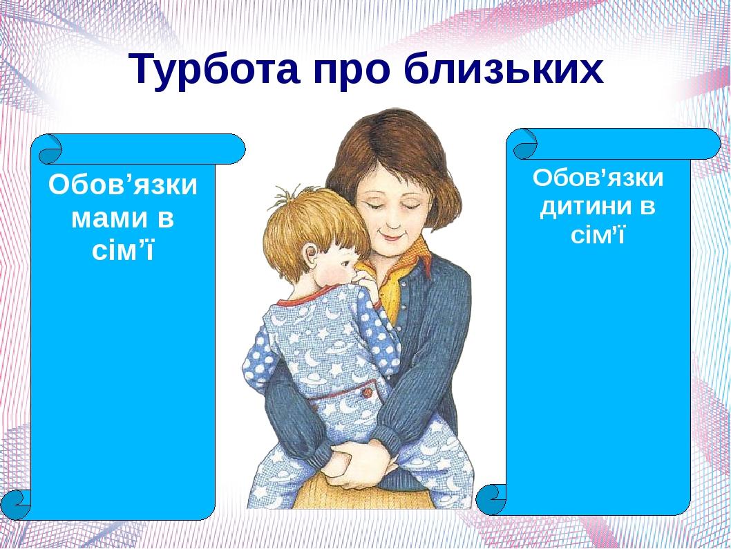Турбота про близьких Обов'язки мами в сім'ї Обов'язки дитини в сім'ї