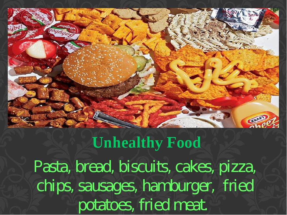 Unhealthy Food Pasta, bread, biscuits, cakes, pizza, chips, sausages, hamburger, fried potatoes, fried meat.