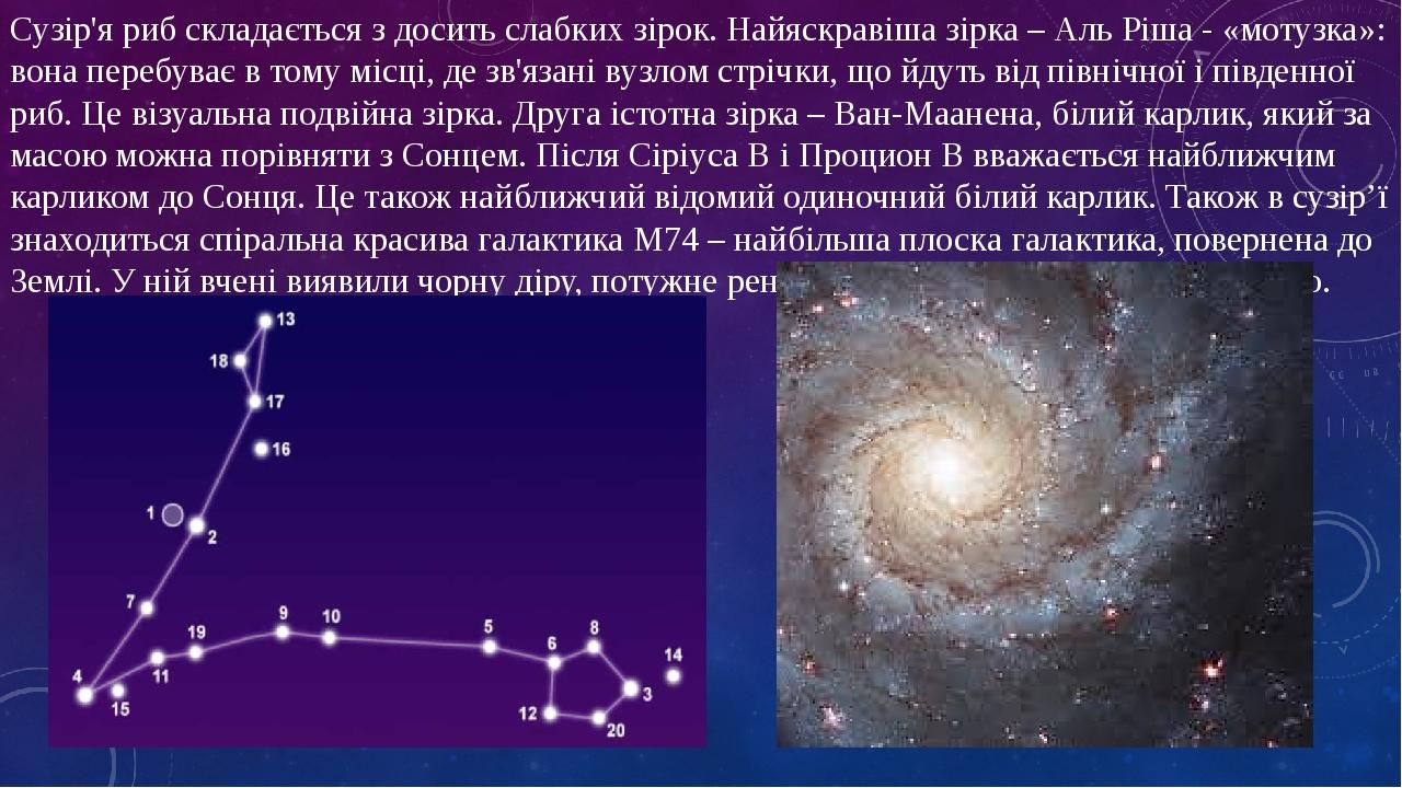 Сузір'я риб складається з досить слабких зірок. Найяскравіша зірка – Аль Ріша - «мотузка»: вона перебуває в тому місці, де зв'язані вузлом стрічки,...